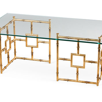 Bamboo Float Glass Coffee Table, Gold, Sofa Table