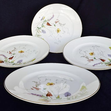Rosenthal China Floral Herbalist Gold Trim Dinner Plate