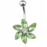 GREEN GEM LOTUS FLOWER BELLY BUTTON RING