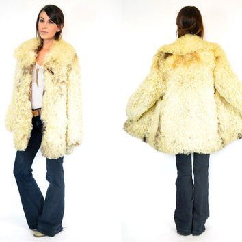 vintage 1970s CURLY LAMB mulitcolored bohemian FUR jacket coat, extra small-large