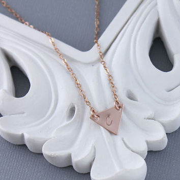 Rose Gold Filled Personalized Triangle Initial Necklace, Layering Necklace, Dainty Initial Necklace, Minimal Necklace