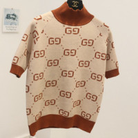 GUCCI fashion new autumn and winter sweaters double g letter sweater women Apricot
