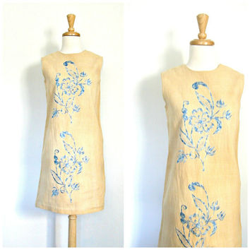1960s Sheath Dress / 60s shift dress / linen dress / flax / short wedding dress / womens dress /  garden party / summer fashion / medium