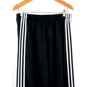 Vintage 1990s Black Adidas Trefoil Three Stripe Athletic Snap Pants Sz M