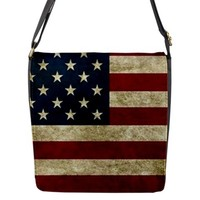American Flag Grunge United States Usa Flap Closure Messenger Bag (Large)