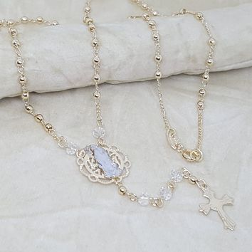 """1-3315-h2 Gold Filled Rosary Necklace. Guadalupe, 18"""", 3mm."""