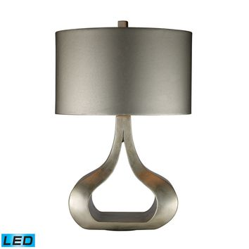 D1840-LED Carolina LED Table Lamp In Silver Leaf With Metallic Silver Shade - Free Shipping!