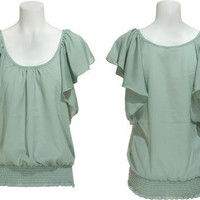 15DOLLARSTORE.COM - ROMEO & JULIET COUTURE Crepe Butterfly Sleeve Blouse W/ Smocking