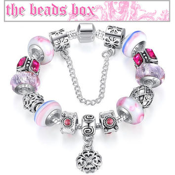 PA1441 Flower Candy Charm Bracelet 925 Sterling Silver Murano Glass & Crystal Beads + Free Shipping