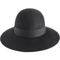 REISS Womens Edie Black Wide Brim Hat