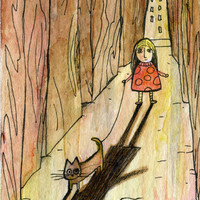 walking the cat Art Print by Marianna Tankelevich