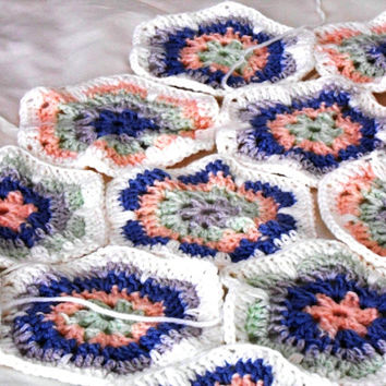 Crochet baby blanket, Throw baby blanket, Hexagon afghan, 100% pure Merino Wool, Grannysquare
