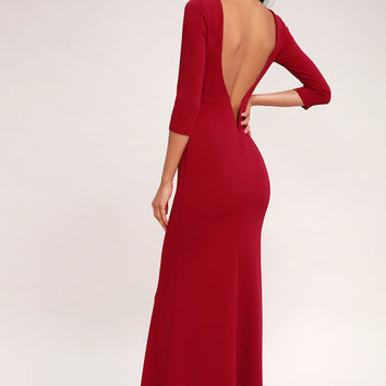 Kymber Wine Red Backless Maxi Dress