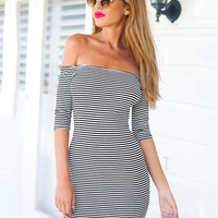 Black and White Striped Off-Shoulder Half Sleeve Bodycon Mini Dress