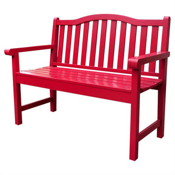 Chili Pepper Red Garden Bench Loveseat with Arms in Cedar Wood