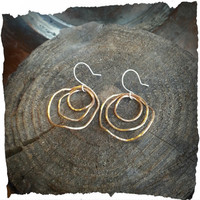 Brass Triple Hoop Wavy Earrings