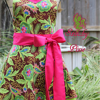Lime Green Floral Adult Apron