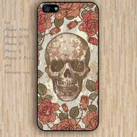 iPhone 4 5s 6 case retro flowers skull colorful phone case iphone case,ipod case,samsung galaxy case available plastic rubber case waterproof B658