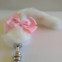 Custom OOAK White Cosplay Plug Tail. Gift for her /Gift Ideas / Sex Toy / BDSM / Mature / Sexo Anal / Sex /Bachelorette gift /Princess Plug.
