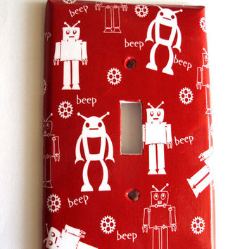 Primary Red Robots Go Beep Light Switch Cover Single Toggle Ready Made