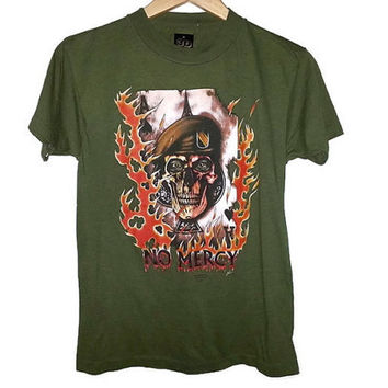 RARE 1988 Vintage 3D Emblem NO MERCY T-Shirt Just Brass Inc Skull and Flames image on front Soft Grunge Rock Color Army Green Size Medium
