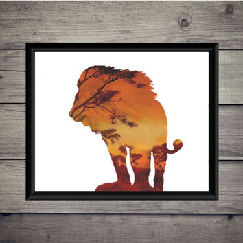 Lion Sunset - Double Exposure - Digital Print - Instant Download - Art - Digital Printable - Africa - Savannah - Wall Decor - Zoo - Nursery