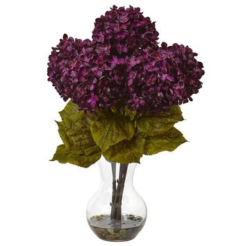 Artificial Flowers -Purple Hydrangea With Vase Flower Arrangement No2 Silk Plant