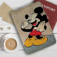 Laughing Mickey Mouse Leather Passport Wallet Case Cover