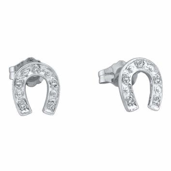 10kt White Gold Womens Round Diamond Horseshoe Screwback Stud Earrings 1-20 Cttw - FREE Shipping (US/CAN)
