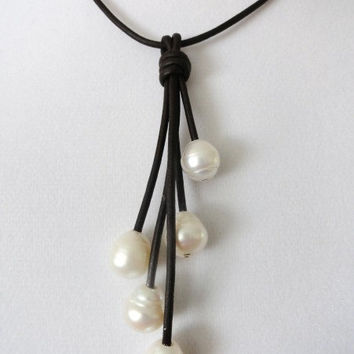 Leather and Pearl necklace-Brown leather and Ivory freshwater pearl necklace- pearl tassle necklace