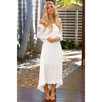 Fashion Off Shoulder Long Sleeve Lace Stitching Strappy Irregular Maxi Dress