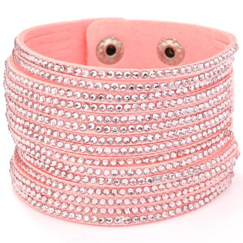 "8.50"" pink crystal multi layered bangle cuff bracelet upper arm cuff"