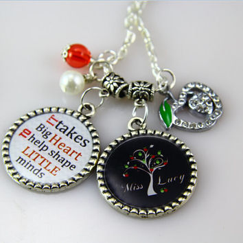 Personalized Teacher Necklace-Teacher Gift-School Necklace-Custom apple teacher necklace, apple Tree