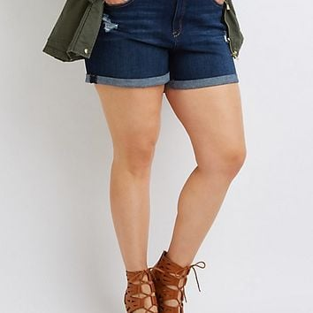 Plus Size Refuge Girlfriend Cuffed Denim Shorts