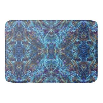 Elegant turquoise pattern bathroom mat