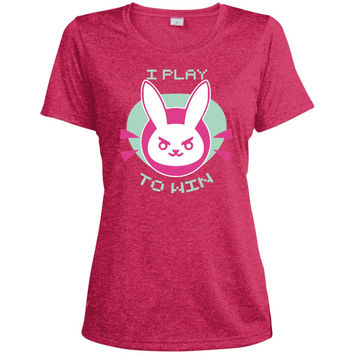 I Play To Win Short Sleeve For Kids  LST360 Sport-Tek Ladies' Heather Dri-Fit Moisture-Wicking T-Shirt