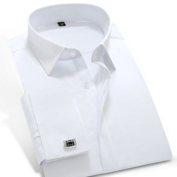 Men's French Cuff Dress Shirt (Cuff links Included)