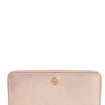 Tory Burch Robinson Metallic Leather Continental Wallet | Nordstrom