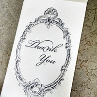 Mini Thank You Note Enclosure Envelope Black on Metallic Ivory - 4 pack