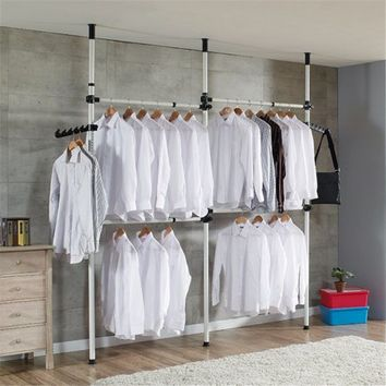 TMISHION Adjustable Home Garment Hanger Free Standing Closet System Heavy Duty Clothes Rack Simple Closet Wardrobe - Walmart.com