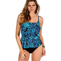 Miraclesuit Paisley Palooza DD-Cup Tiering-Up Tankini Top - Blue