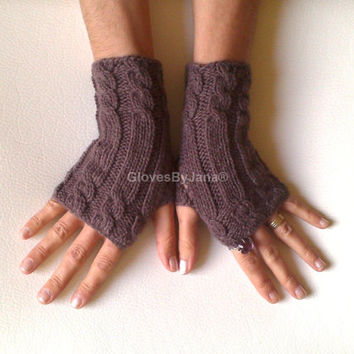 95 Cashmere glove brown fingerless gloves cozy luxury gloves cable gloves gloves armwarmers super soft