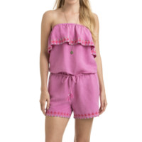 NWT Vineyard Vines pink strapless ruffle embroidered romper, size S, $118 new