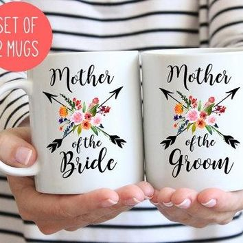Mother of the Bride and Groom mug set, gift for mother of Bride and Groom, Wedding gift for parents Set of two mugs, (M422 M423