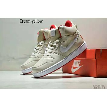 NIKE COURT BOROUGN MID trend men and women models wild fashion casual shoes cream-yellow