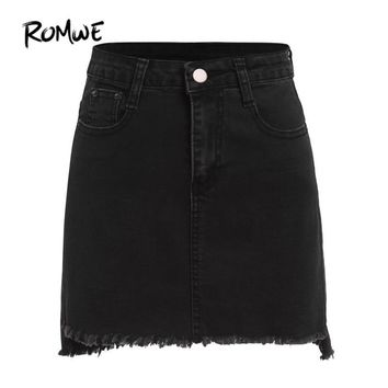 ROMWE Autumn Mini Skirts Casual Skirts For Women Plain Black With Pockets Above Knee Denim Bodycon Skirt