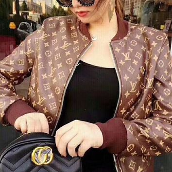 LV female Leather clothing Embroidery Loose coat