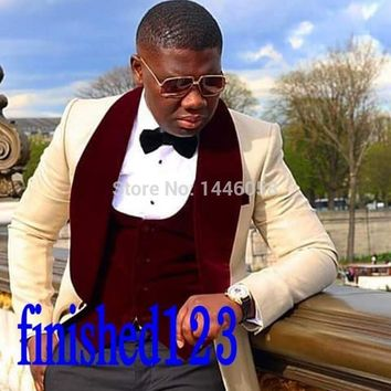 2017 Latest Design Shawl Lapel Mens Dinner Party Prom Suits Groom Tuxedos Groomsmen Wedding Suits For Men Jacket+Pants+Vest+Bow