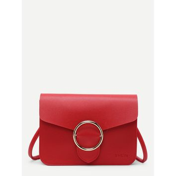 Red Buckle Front Pu Shoulder Bag