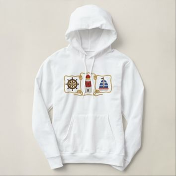 Lighthouse, Captains Wheel and Sailboat Embroidered Hoodie